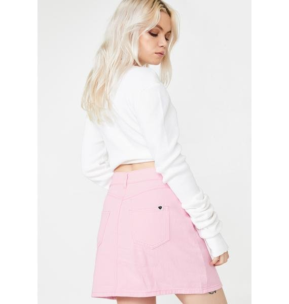 Lazy Oaf LO Pink Button Through Skirt