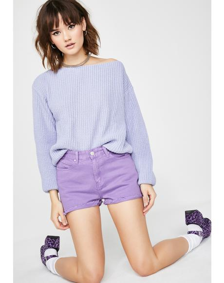 Grape Lil Miss Popular Denim Shorts
