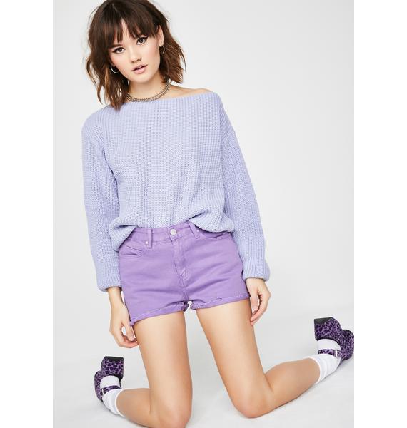 Grape Lil Miss Popular Denim Shorts