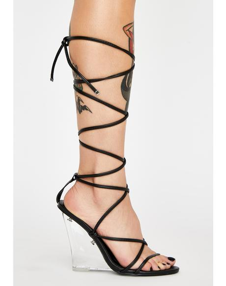 Night Fallen For You Lace-Up Heels