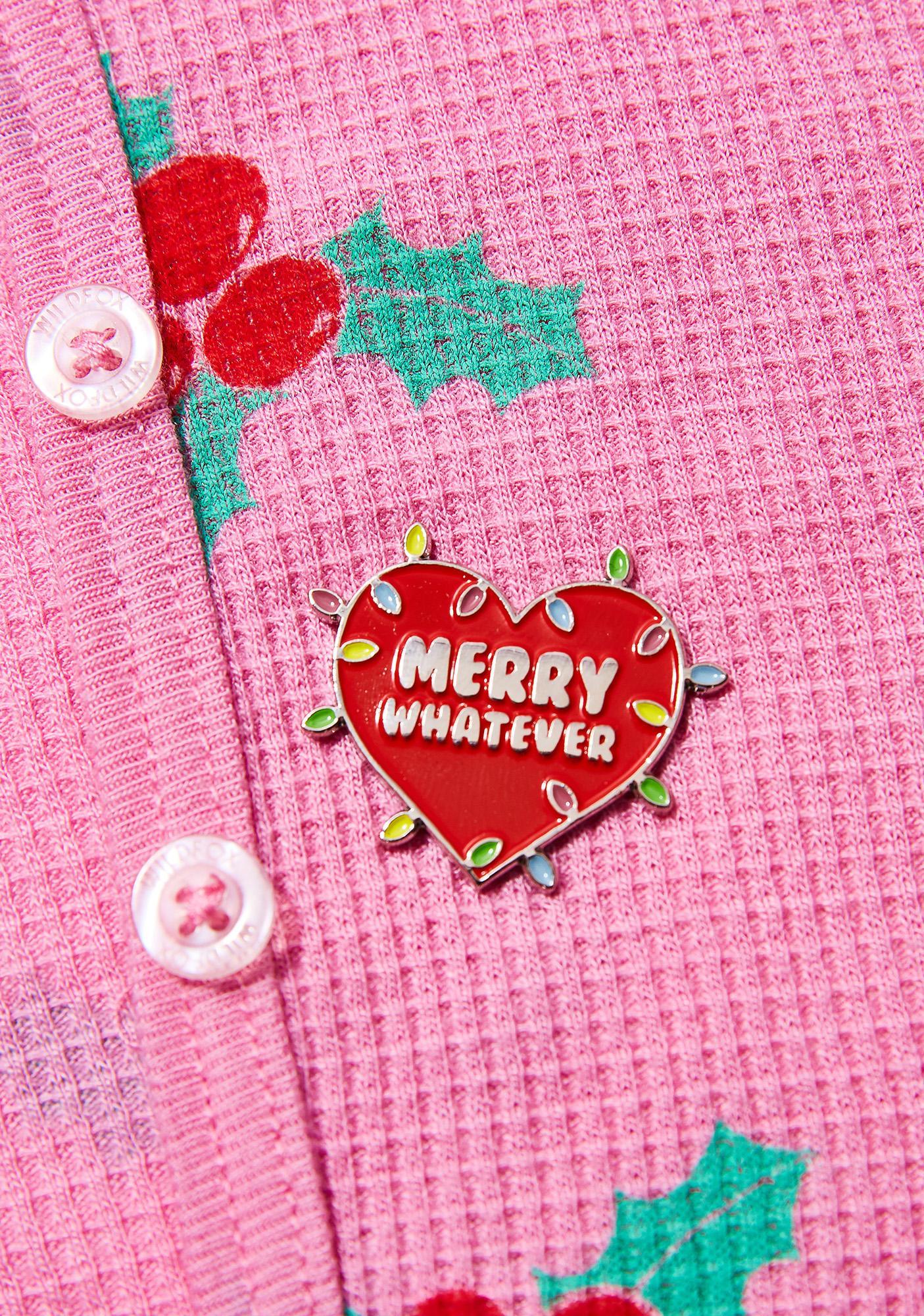 Laser Kitten Holiday Lights Pin