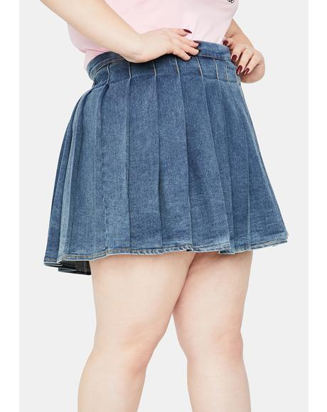 Miss Indigo Daring Denim Pleated Skirt