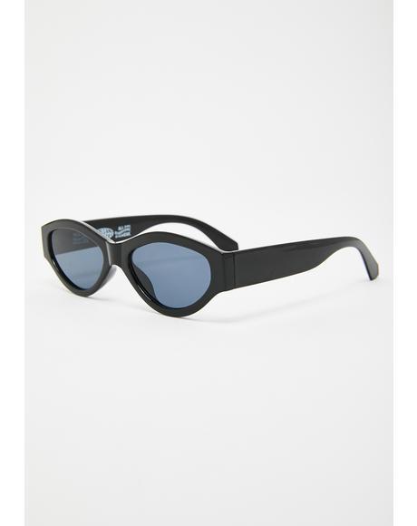 Black Caution Sunglasses
