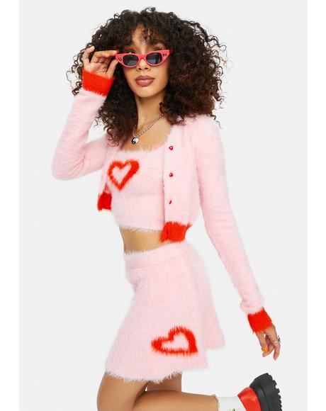 At The Love Shack Mohair Heart A Line Mini Skirt