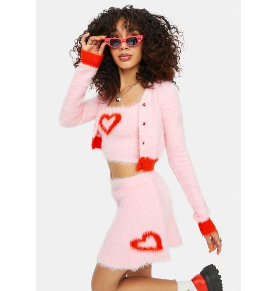 dELiA*s by Dolls Kill At The Love Shack Mohair Heart A Line Mini Skirt