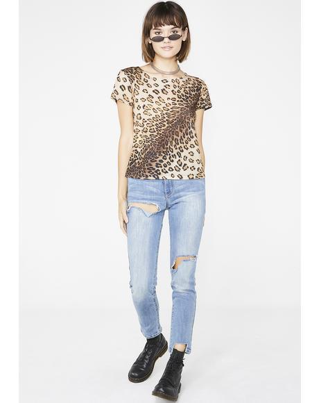 Vintage 90s Leopard Mesh Top
