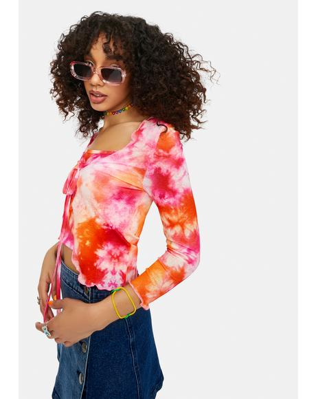 Psychedelia's Tie Dye Cropped Cardigan Set