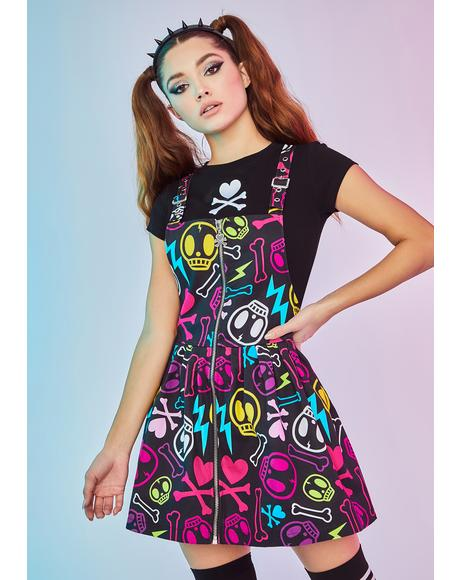 Au Revoir Again Skull Toss Pinafore Dress