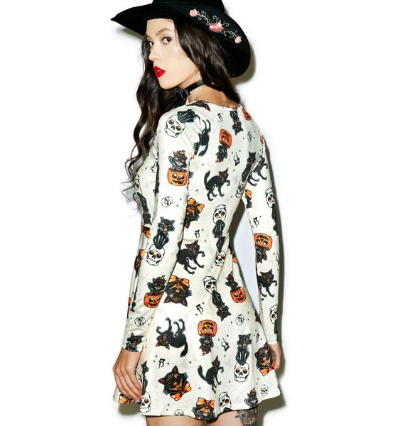 Sourpuss Clothing Black Cats Skater Dress