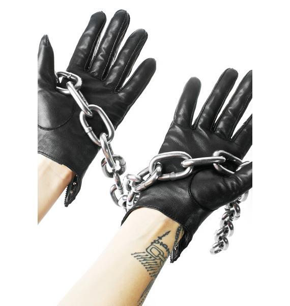 Majesty Black Studded Key Hole Gloves