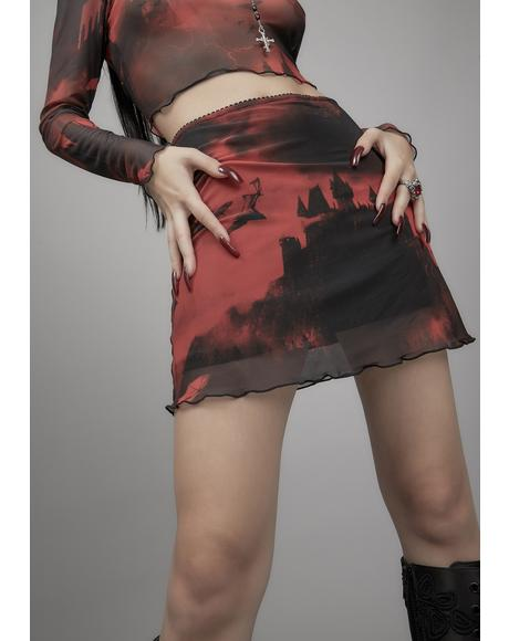 House Of Horrors Mesh Mini Skirt