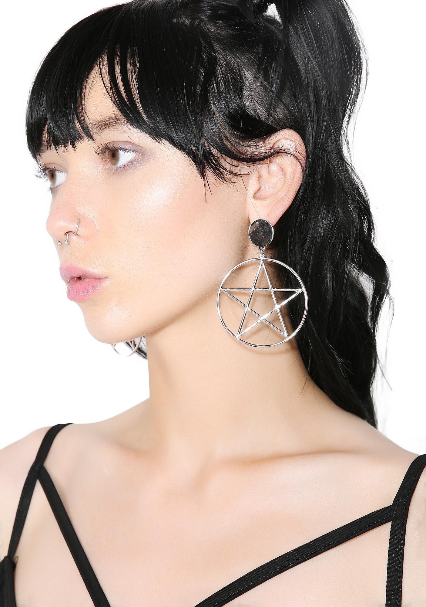 Midnight Seance Pentagram Hoops