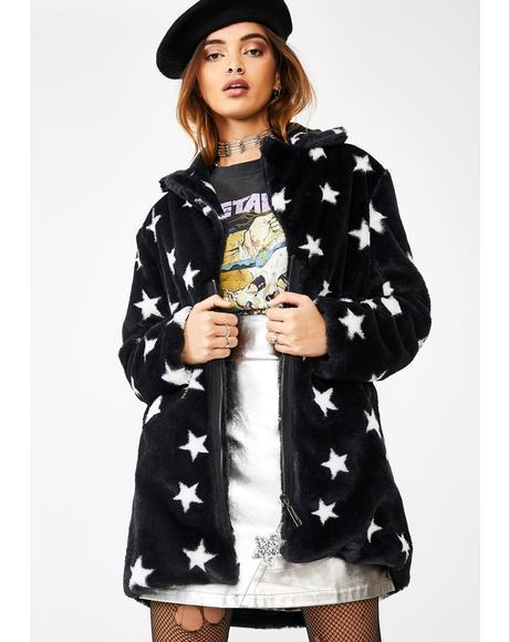 Star Print Faux Fur Jacket