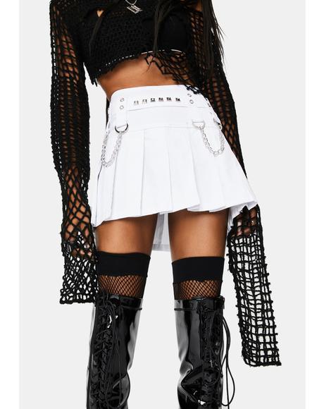White Stud And Chain Mini Skirt