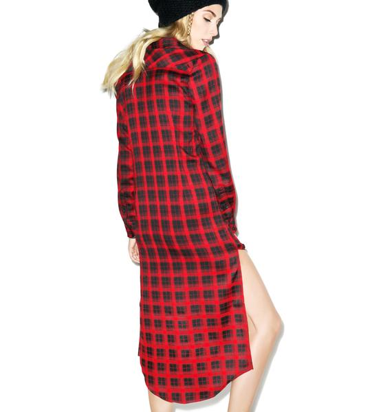 Tiger Mist Check Over Flannel Dress