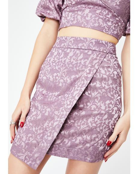 Dusty Purple Jacquard Mini Skirt
