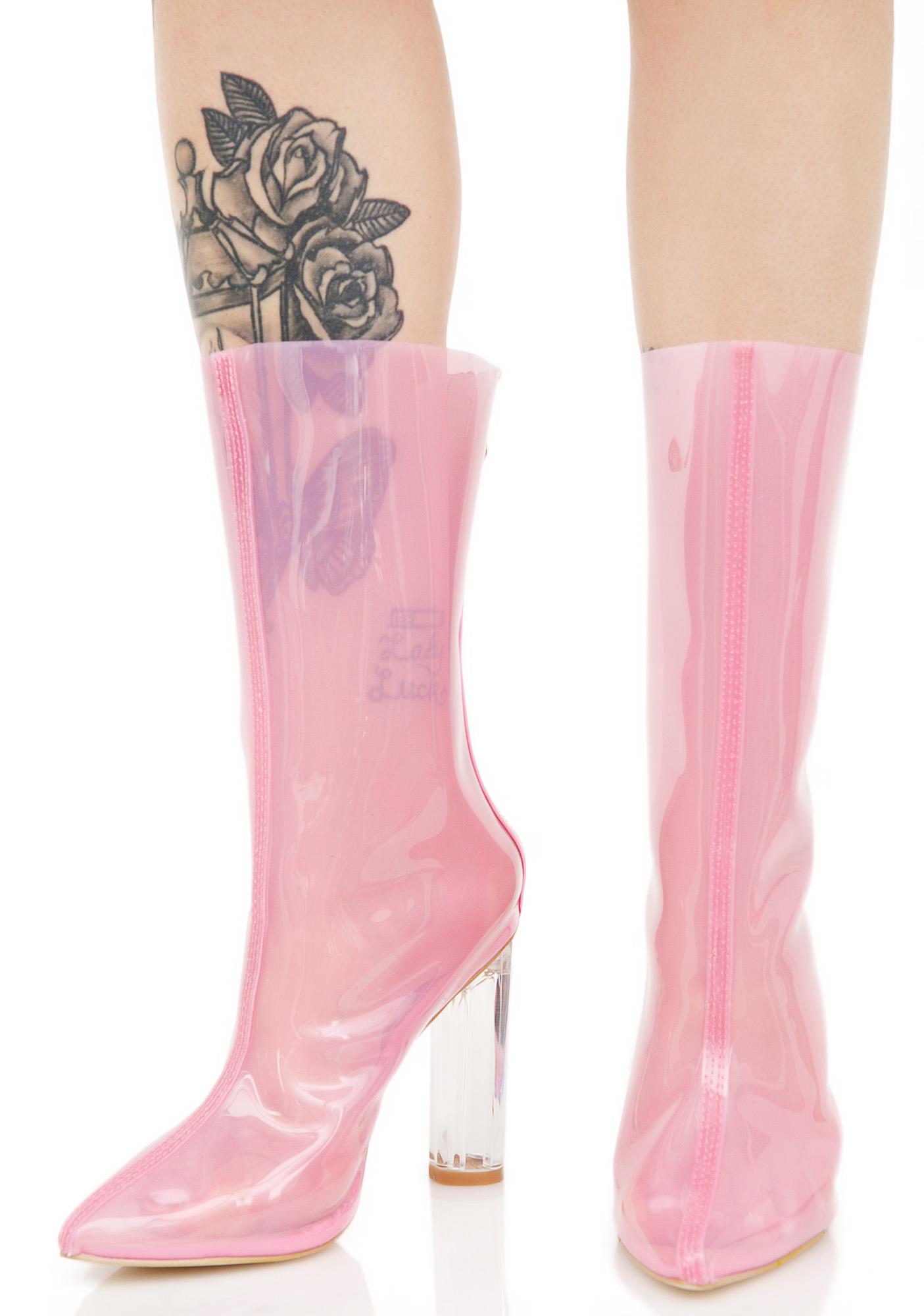 Pink Clear Perspex Booties