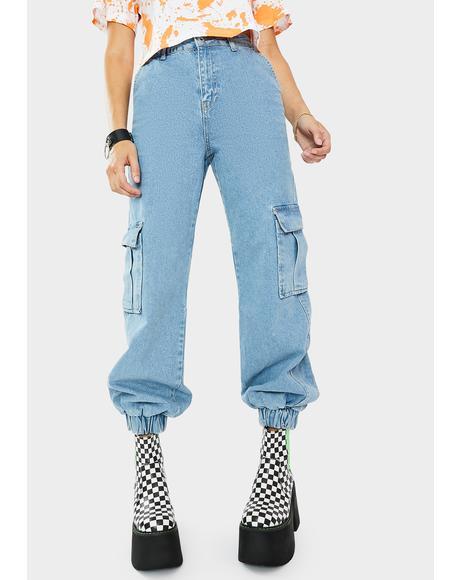 Light Blue Cuff Jeans