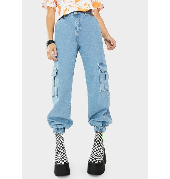 The Ragged Priest Light Blue Cuff Jeans