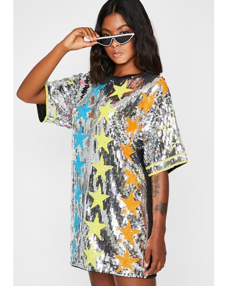 Starlight Starbright Sequin T-Shirt Dress