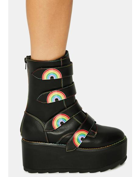 Black Karma Rainbow Platform Boots