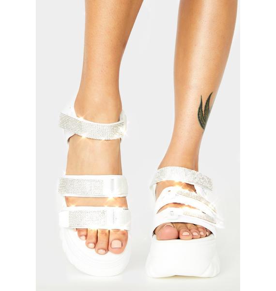 AZALEA WANG White Pressure Platform Sandals