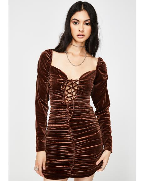 Brown Ruched Velvet Mini Dress