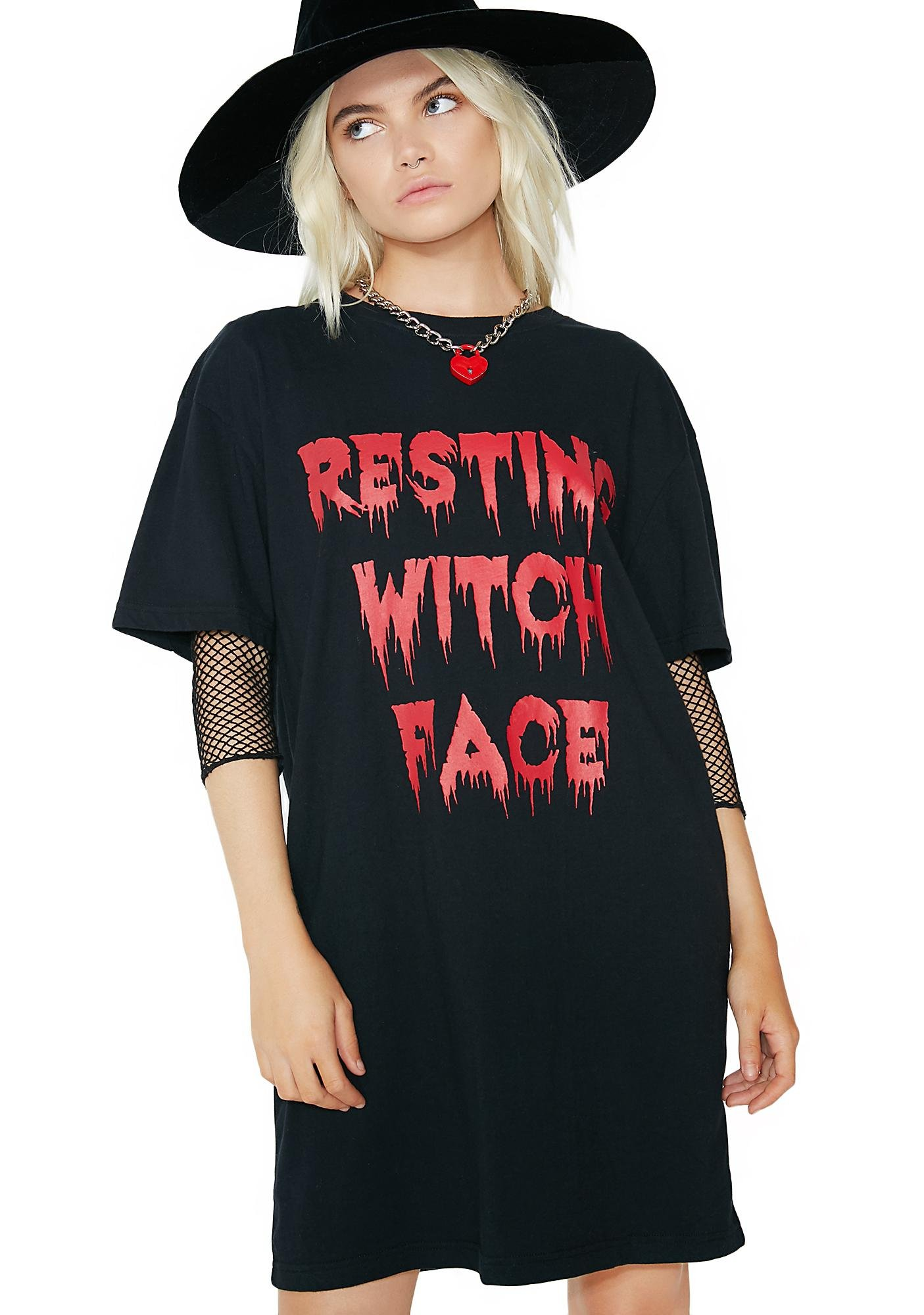 Dolls Kill Resting Witch Face Tee