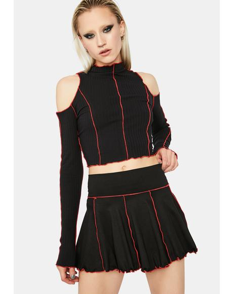 Devil Stuck With Me Pleated Mini Skirt