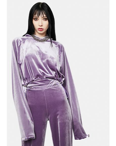 x Masha Tsigal Purple Cropped Hoodie