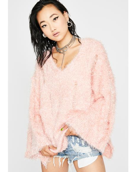 Blush Harsh Love Fuzzy Sweater