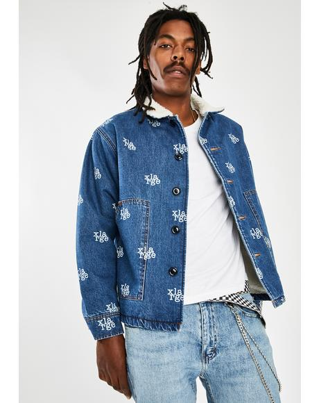 Light Indigo Logo Denim Boa Jacket