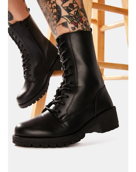 Somber We Meet Again Combat Boots