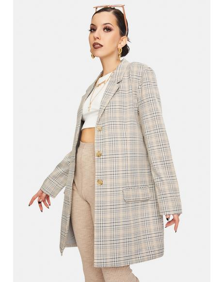 Plaid Behavior Oversized Blazer