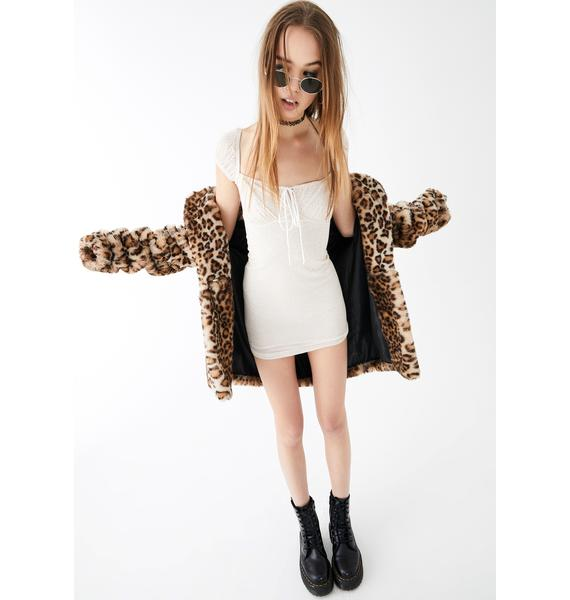 Motel Taupe Leopard Gaina Mini Dress