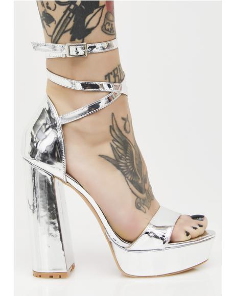 Platinum Mars Strappy Flared Heel Platforms