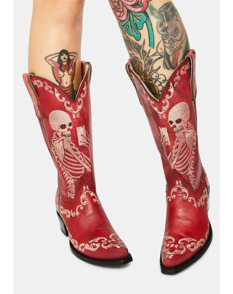 Red Selfie Cowboy Boots