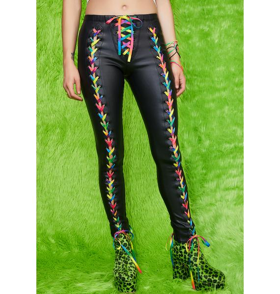 Current Mood Kaleidoscopic Visionz Lace-Up Leggings