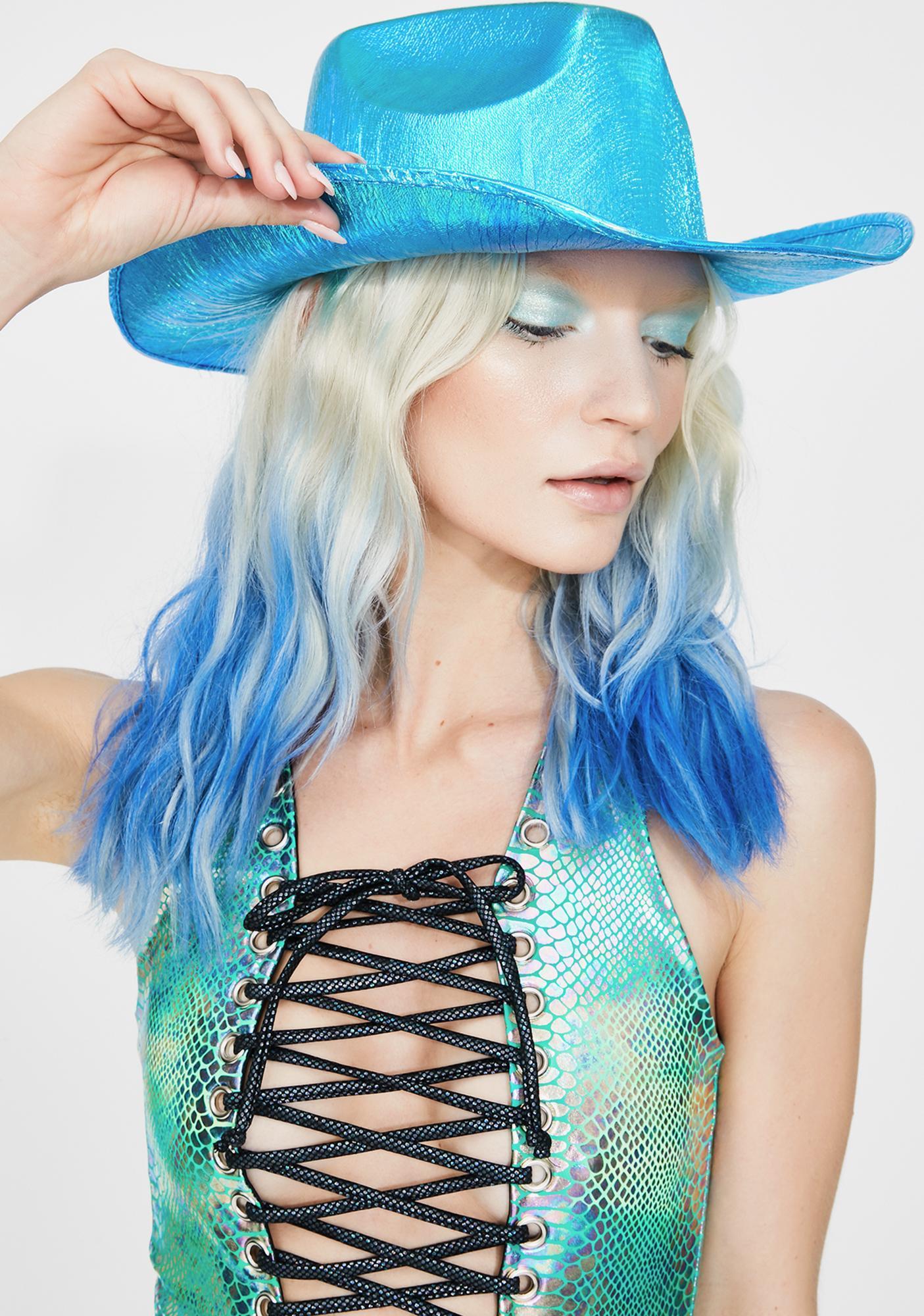 Metallic Aqua Cowboy Hat