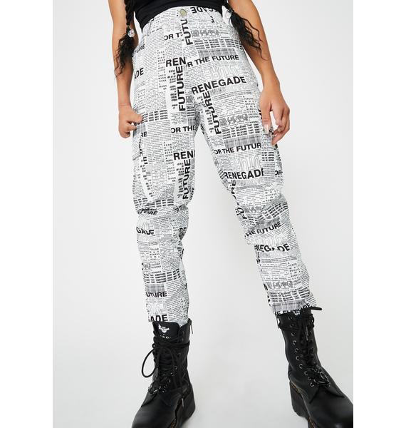 Daisy Street News Paper High Waisted Pants