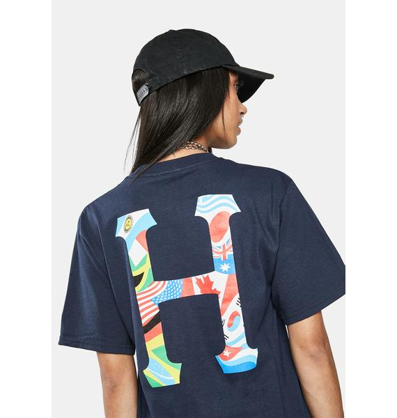 HUF French Navy Global Trip Classic H Graphic Tee