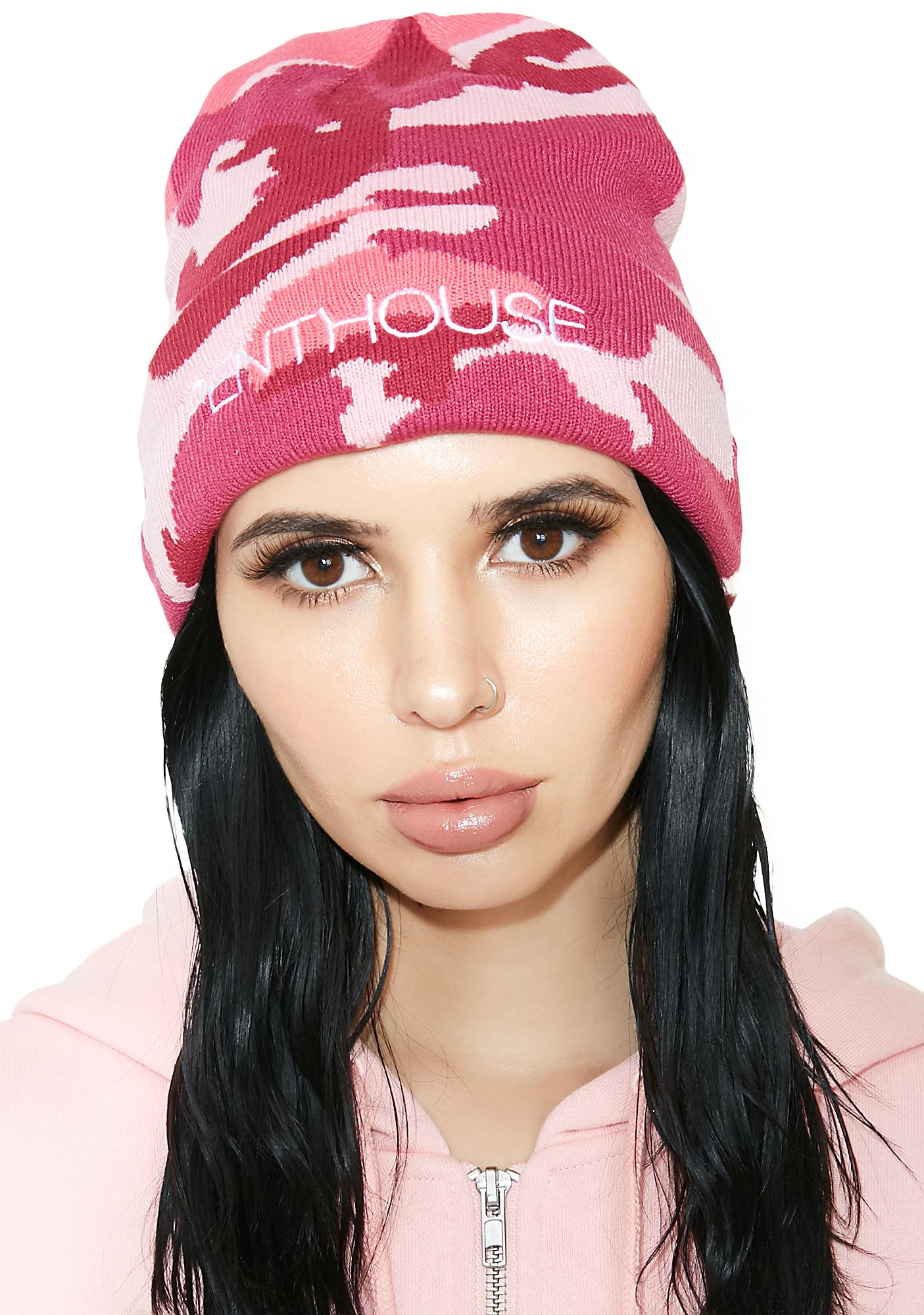 1aa7cd6b95a Married to the Mob x Penthouse Pink Camo Beanie