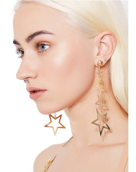 Lucky Star Dangly Earrings
