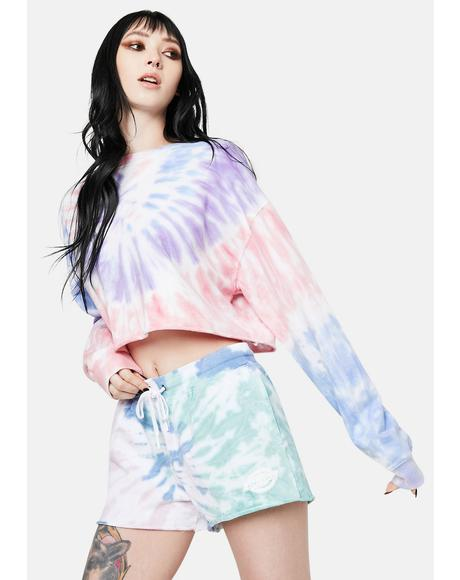 Green And Lilac Swirl Tie Dye Pull On Shorts