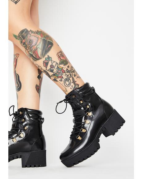 Bad Bish Alert Lace-Up Boots