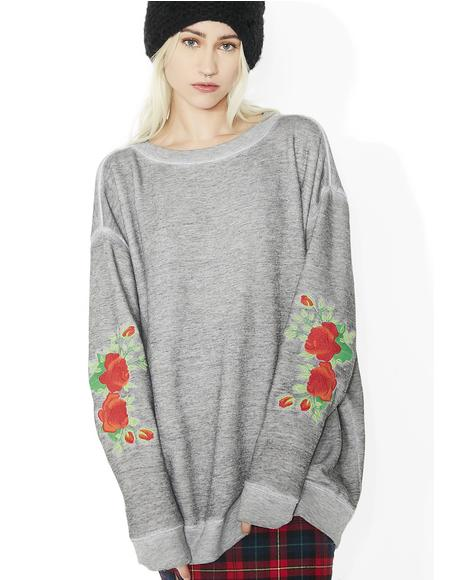 Roses Embroidery Roadtrip Sweater