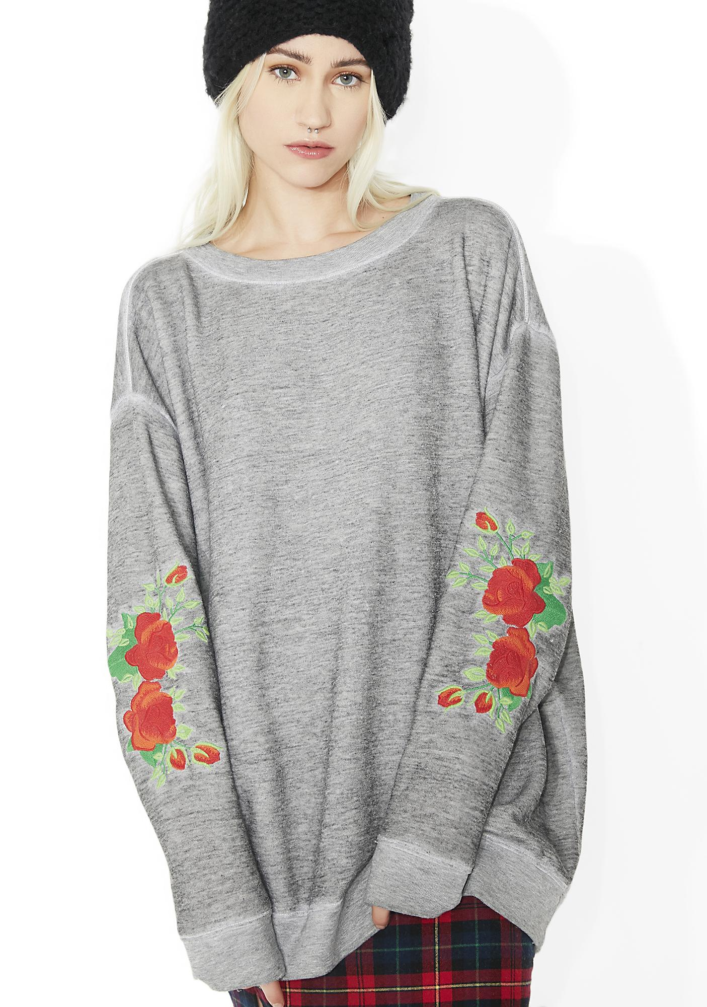 Wildfox couture roses embroidery roadtrip sweater dolls kill
