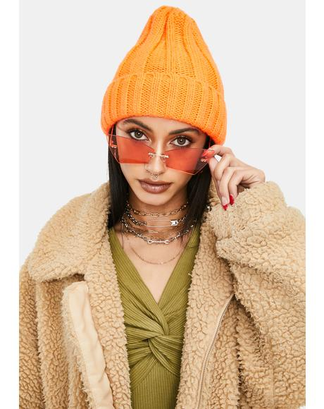 Amber Here To Stay Rectangle Cat Eye Sunglasses