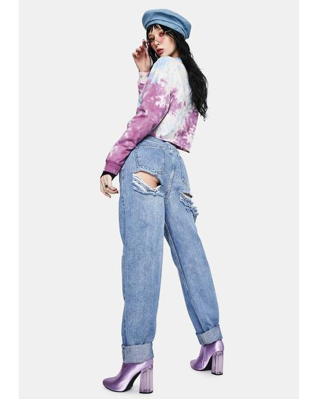 Light Wash Extreme Butt Rip Mom Jeans