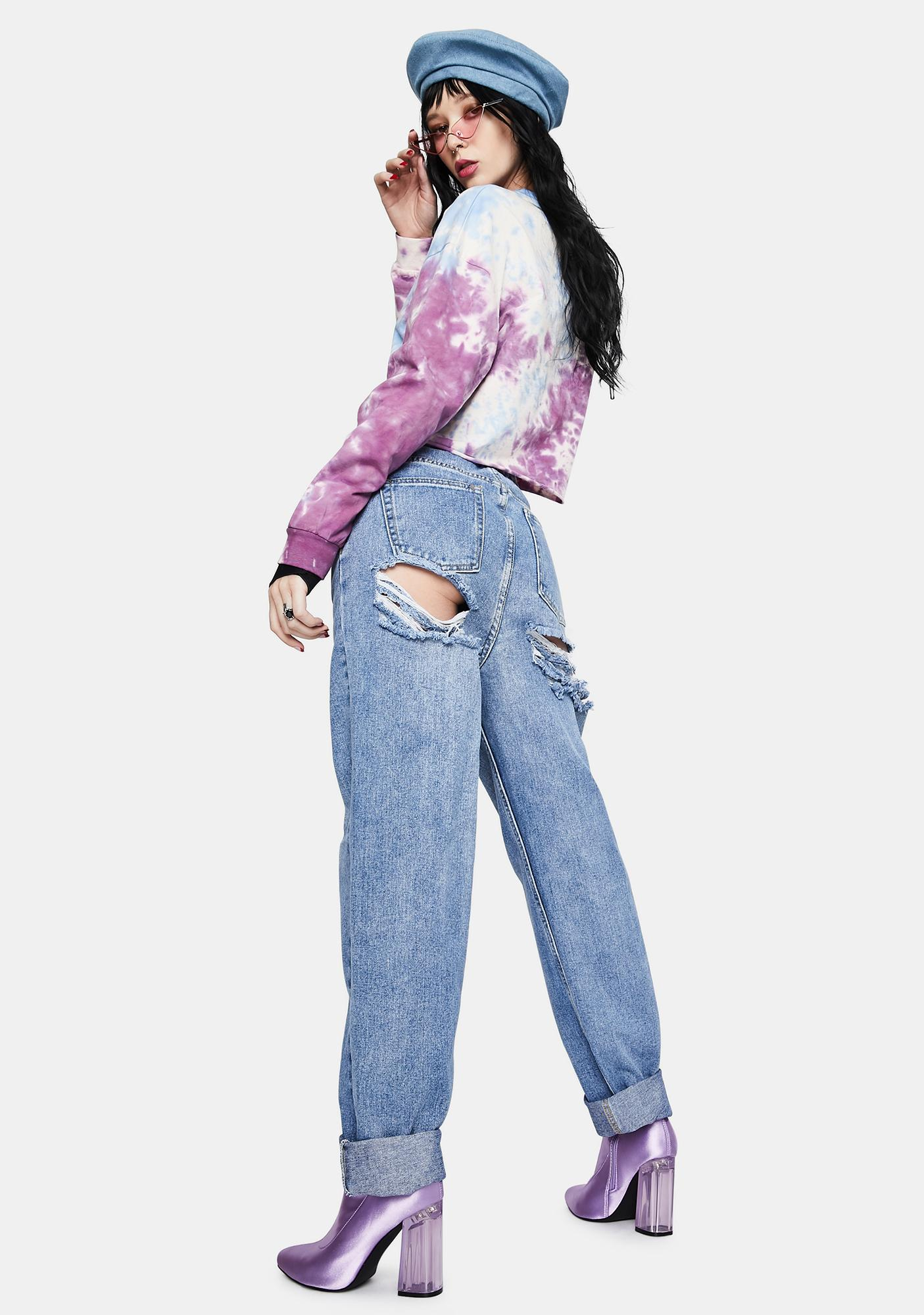 Momokrom Light Wash Extreme Butt Rip Mom Jeans